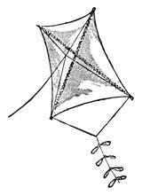 Kite, Vintage Illustration.