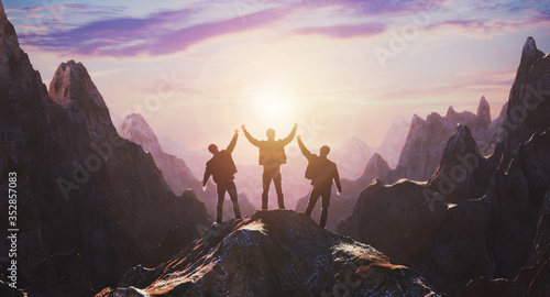 Obraz Silhouette of a team of three people celebrating victory against the backdrop of mountains and sunset. 3d rendering - fototapety do salonu