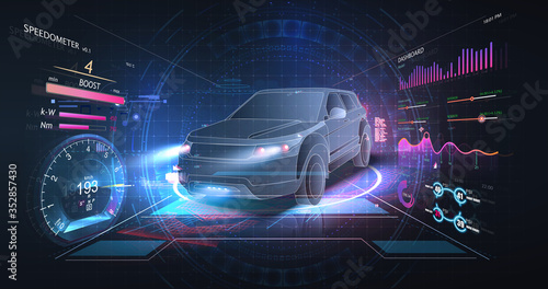 Obraz Concept of smart car technology. Car isometric hologram, in HUD style. Electric auto. Hologram car in low poly style. Futuristic car concept with dashboard speedometer, diagnostics. ( HUD, GUI, VFX ) - fototapety do salonu