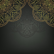 Gold Mandala On Black Backgrou...