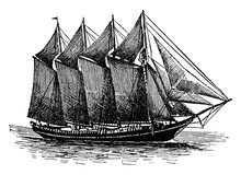 Schooner, Vintage Illustration.