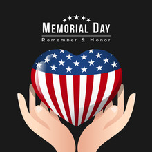Memorial Day Banner With Hand ...