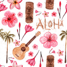 Hawaiian Simbols - Luau, Aloha, Tiki, Ukulele, Plumeria, Hibiscus, Palm Tree. Seamless Pattern