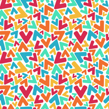 Letter V Mosaic, Kaleidoscopic Colorful Seamless Pattern For Kids. Isolated On White. Print For Textile, Book Cover, Wallpaper,decoration, Greeting Card, Gift Wrap. Stock Vector Illustration.