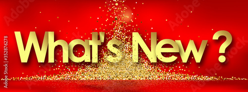 Photo What's new in red background and golden stars