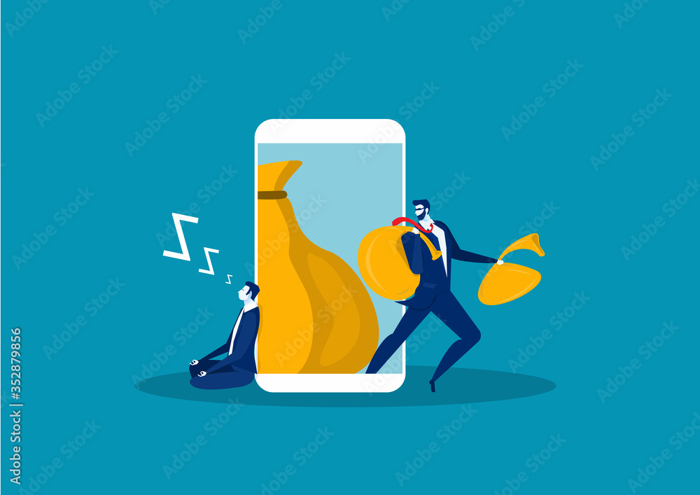 Fototapeta A man with a hand wants to steal information on smart phone. Flat design, vector illustration, vector.