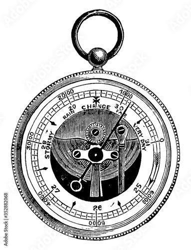 Aneroid barometer, vintage illustration. Canvas Print
