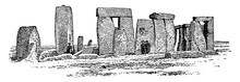 Stonehenge, Vintage Illustration.