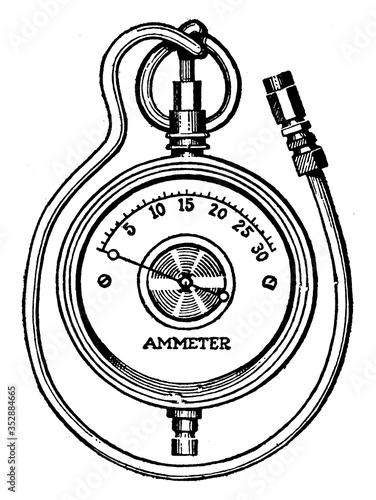 Photo Ammeter, vintage illustration.