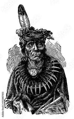 Fototapeta Dakota Chief or or Dakotah, vintage illustration.