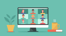 People Connect Together, Learning Or Meeting Online With Teleconference, Video Conference Remote Working On Computer Laptop, Work From Home And Anywhere, New Normal Concept, Vector Flat Illustration