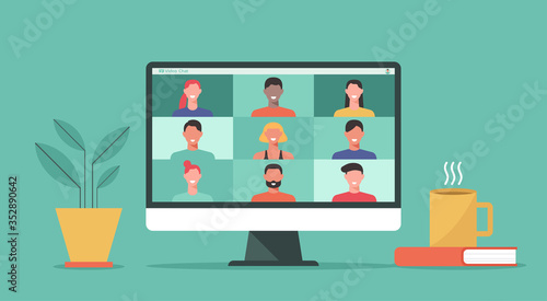 Obraz people connect together, learning or meeting online with teleconference, video conference remote working on computer laptop, work from home and anywhere, new normal concept, vector flat illustration - fototapety do salonu