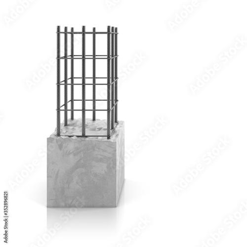 Stampa su Tela Rebar steel in reinforced concrete block on white background.
