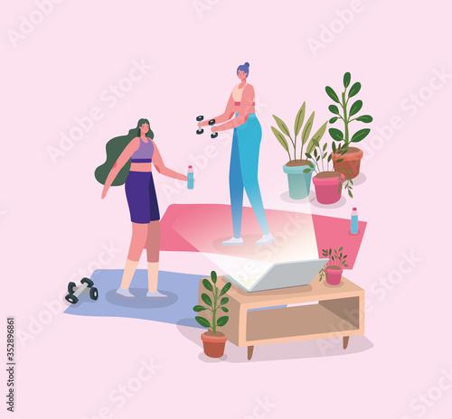 Fototapeta Women doing sport on mat in front of tv vector design obraz na płótnie