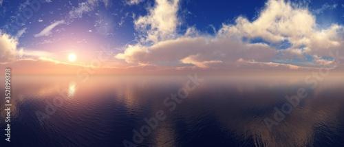 Obraz Sea sunset panorama, ocean sunrise, the sun among the clouds above the water - fototapety do salonu