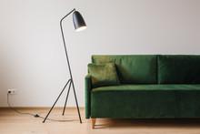 Green Sofa With Pillow Near Metal Modern Floor Lamp