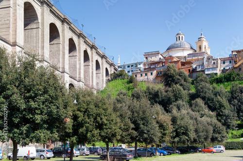 Ariccia, Roma, Ponte monumentale della Via Appia con la Collegiata di Santa Mari Canvas Print