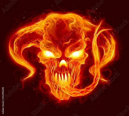 Canvastavla Fire demon illustration