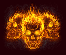 Three Fire Skulls