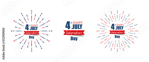 4th July Independence Day. Happy Independence Day of United States of America calligraphy background. Set of banner Independence Day with firework. Vector illustration