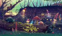 Digital Fantasy Forest Landscape Illustration With Magic Trees, Mushrooms, Concept Art Style Painting With Nature, Outdoor Fairy Tale Drawing. Summer Village Artwork With Wonderful Colors.