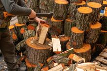 Lumberjack Chopping Wood For W...