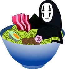 Vector Japanese Culture A Black Smiling Creepy Spirit Noface Kaonashi. Spirited Away  Miyazaki. Ramen Noodle.