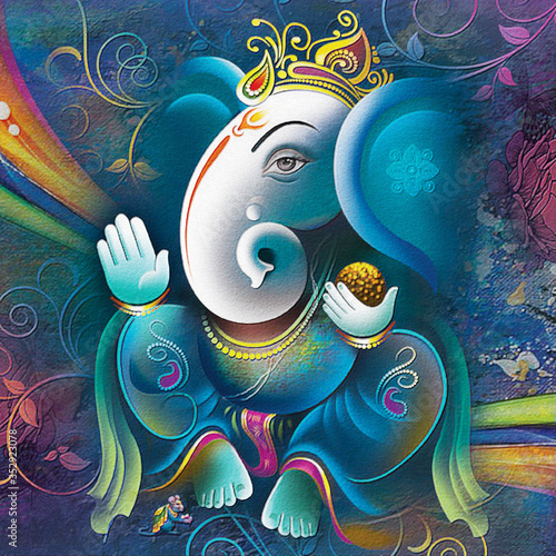 Fotografie, Tablou Ganesha painting, UV Wall Art Painting or Wallpaper for Living room and Bedroom