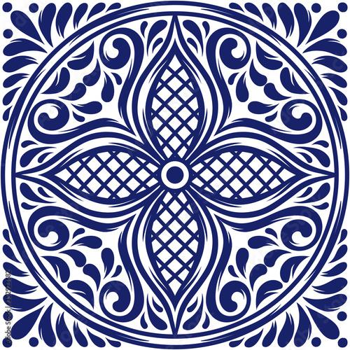 Italian ceramic tile pattern. Mediterranean porcelain pottery. Canvas Print