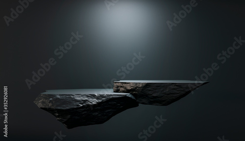 Cuadros en Lienzo Stone and Rock shape 3d render illustration
