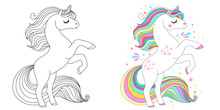 Cute Unicorn Line And Color. V...