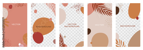 Obraz Vector set of abstract backgrounds with copy space for text - bright vibrant banners, posters, cover design templates, social media stories wallpapers with tropical leaves and plants - fototapety do salonu