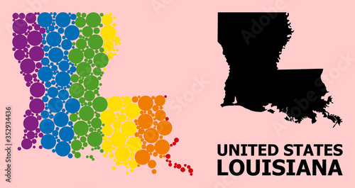 Fototapeta Rainbow Mosaic Map of Louisiana State for LGBT