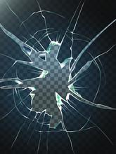 Broken Glass.Realistic Transpa...