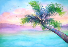Watercolor Tropical Sunset Landscape With Palm