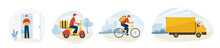 Delivery Service Vector Illustration. Fast Safe Deliver By Courier Man To Home. Bicycle, Motorcycle And Truck Ride On The Road With Landscape. Worker Wearing In Mask Gloves To Prevent Corona Pandemic
