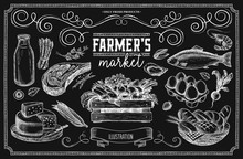 Set Of Farm Products On A Chalk Board. A Set Of Illustrations For The Design Of The Menu Of Restaurants And Farm Shops.