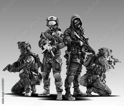 Leinwand Poster Vector Policeman Tactical Shoot Illustration