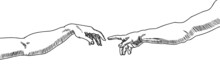 Vector Drawing Of Two Hands Th...