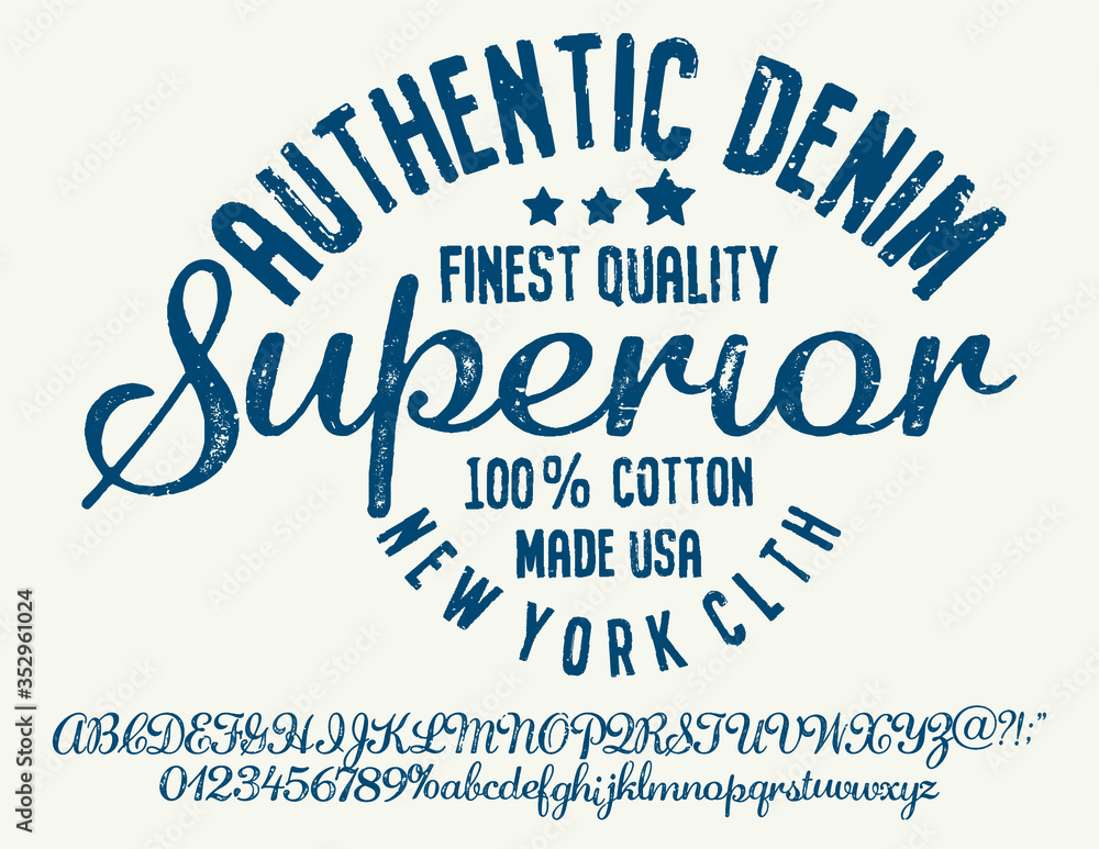 Fototapeta Vintage brush script lettering font. Handwritten calligraphic alphabet for t-shirt or apparel. Textured unique brush in alphabet style.Old school vector graphic for fashion and printing.