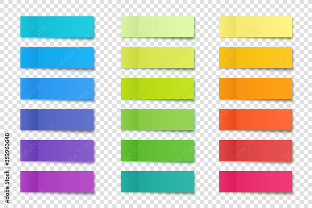 Fototapeta Realistic sticky notes collection. Post note stickers. Colorful sticky paper sheets. Vector illustration.