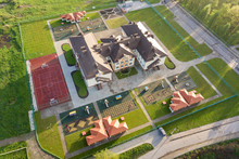 Aerial View Of New Prescool Building In Residential Rural Area.