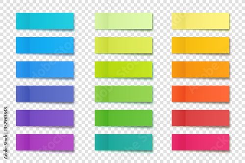 Fototapeta Realistic sticky notes collection. Post note stickers. Colorful sticky paper sheets. Vector illustration. obraz