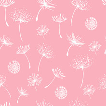 Vector Seamless Pattern. Flying Of Dandelion. Stylish Repeating Texture. Cute Pastel Print.Seamless Dandelion Pattern, Vector Seamless Background With Hand Drawn Plants And Seeds