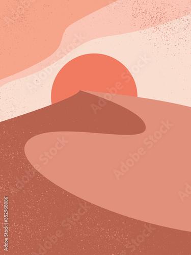 Slika na platnu Abstract contemporary aesthetic background with landscape, desert, sand dunes, Sun