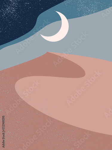 Abstract contemporary aesthetic background with landscape, desert, sand dunes, crescent Moon Fototapeta