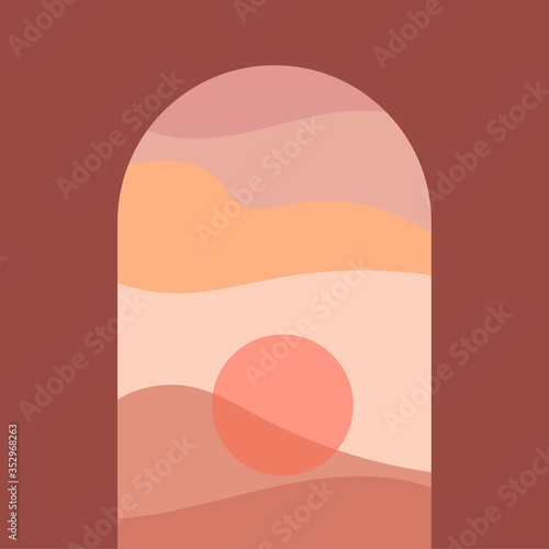 Slika na platnu Abstract contemporary aesthetic background with landscape, desert, mountains, Sun