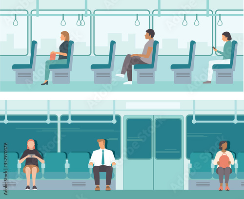 Obraz Urban public transport. Passengers inside tube car, bus or tram. City Passengers Transportation - fototapety do salonu