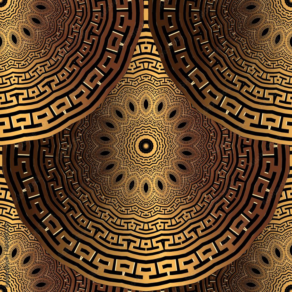 Gold 3d Deco seamless pattern. Greek ornamental tiled mandalas background. Repeat surface backdrop. Silk 3d wallpaper. Greek key meander round ornaments. Textured metallic geometric vector design
