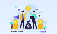 People Share Info About Referral And Earn Money. Refer A Friend Concept, Affiliate Marketing, Landing Page Template For Banner, Flyer, Ui, Web, Mobile App, Poster